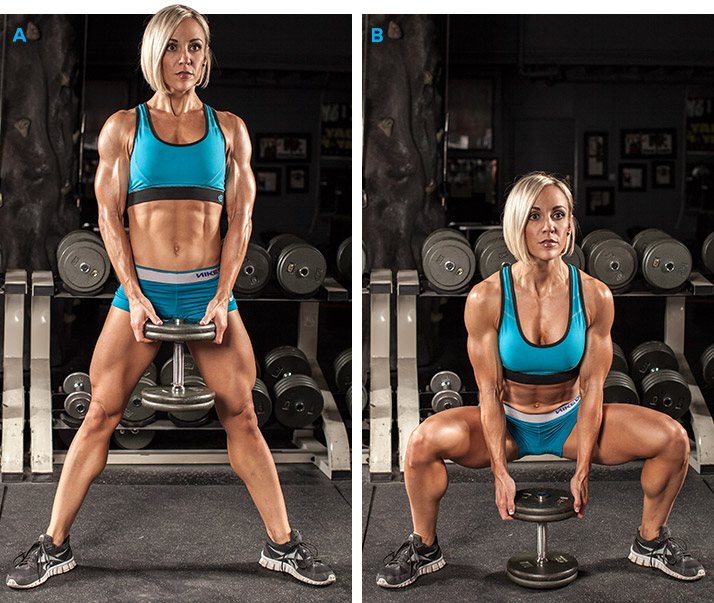 Приседание с гантелью для похудения ног