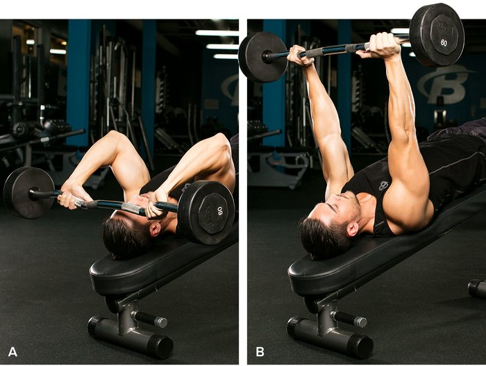 French bench press lying at an angle